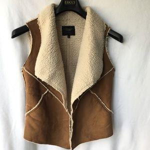 Sanctuary Faux Suede Sherpa Fleece Drape Open Vest